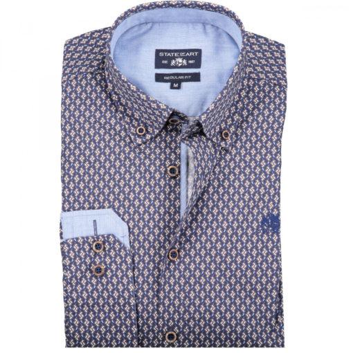 State of Art Overhemd met Print van 100% Katoen blauw/bruin