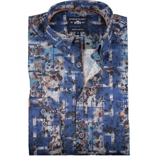 State of Art Overhemd met een All-over Bloemenprint bruin/blauw