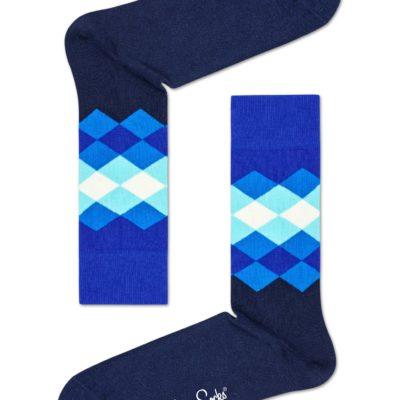 happy socks faded diamond wit blauw