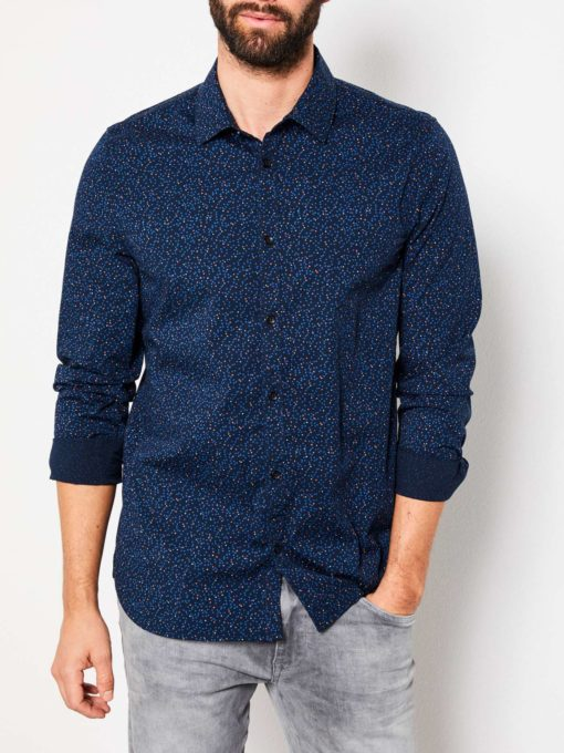 Petrol overhemd allover print blauw