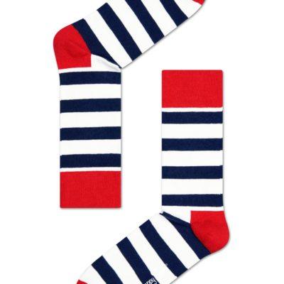 happy socks gestreept wit blauw rood