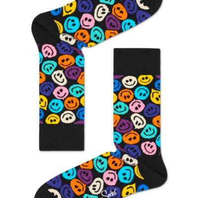 happy socks twisted smile zwart gekleurd