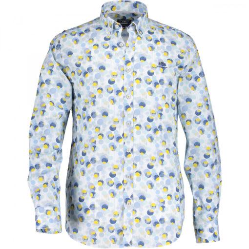 State of art poplin overhemd grijs blauw geel