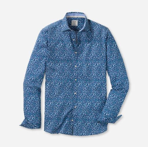 Olymp overhemd bodyfit casual blauw