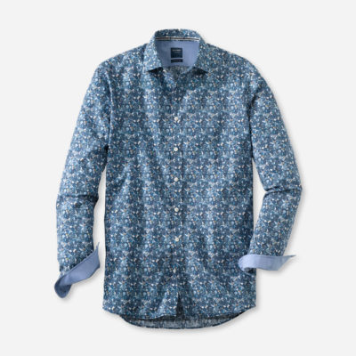 olymp overhemd casual cyaan
