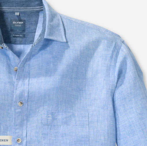 Olymp overhemd casual linnen hemelsblauw