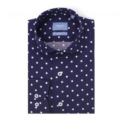 tresanti overhemd gestipt navy
