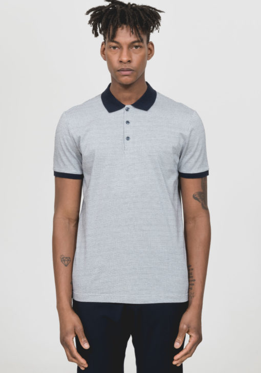 ANTONY MORATO COTTON POLO SHIRT WITH TWO-TONE MICRO PATTERNING