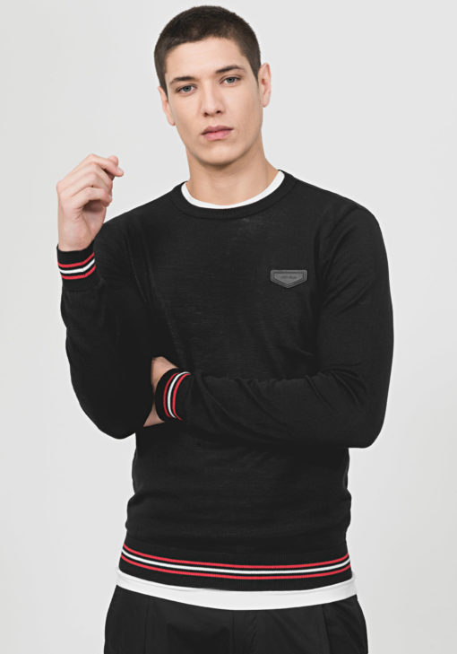 ANTONY MORATO ROUND-NECK SWEATER WITH FAUX-LEATHER PATCH