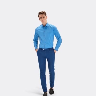 MMX Lupus Pima cotton satin chinos blue