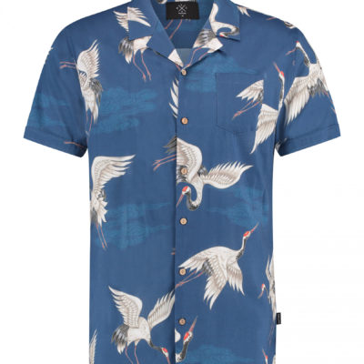 kultivate overhemd blauw met print