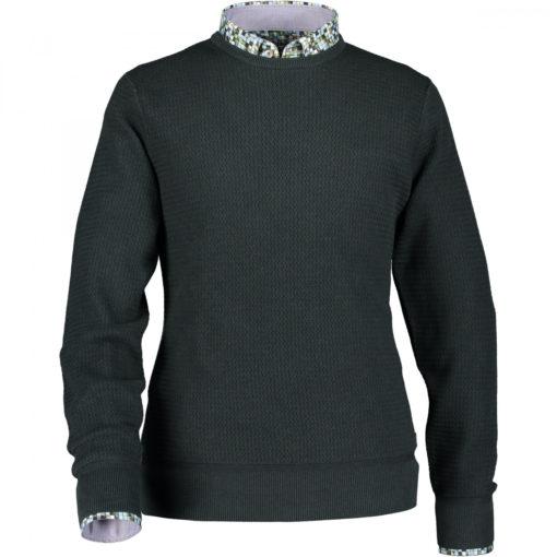 State of Art Fijngebreide trui van puur katoen donkergroen uni