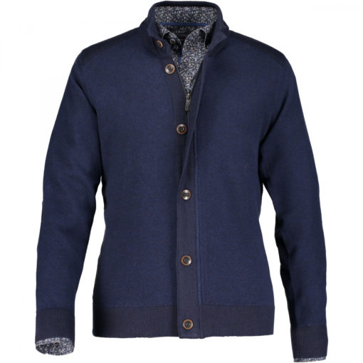 State of Art Vest van wol donkerblauw/kobalt