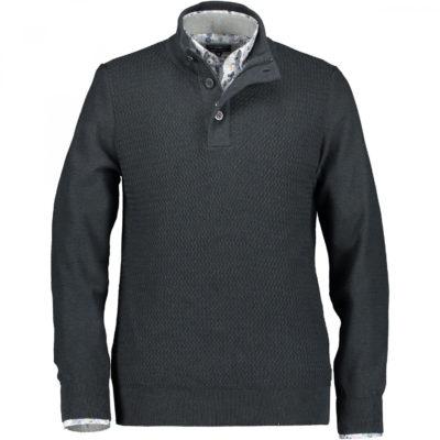 State of Art Fijngebreide trui van katoen donkergroen/donkerblauw