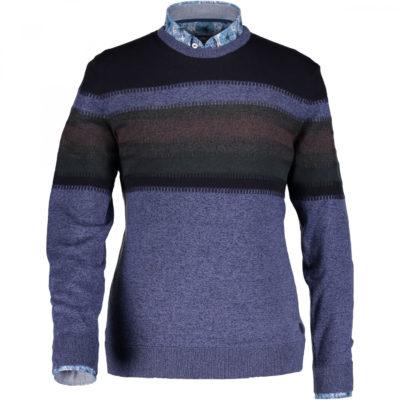 State of Art Gestreepte trui met ronde hals donkerblauw/kobalt