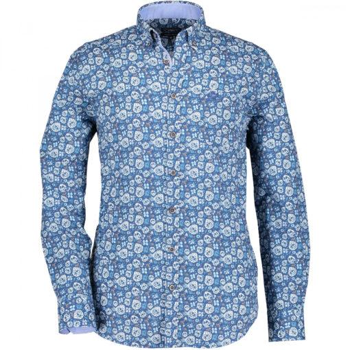 State of Art Overhemd met bloemenprint grijsblauw/kobalt