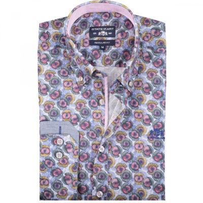 State of Art Poplin overhemd met lange mouw aubergine/kobalt
