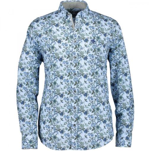 State of Art Regular fit overhemd met stretch bladgroen/kobalt