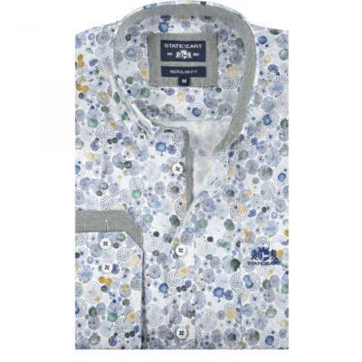 State of Art Stretch overhemd met een merklogo bladgroen/kobalt