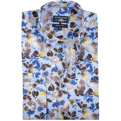State of Art Poplin overhemd met een all-over print donkerbruin/mint blauw