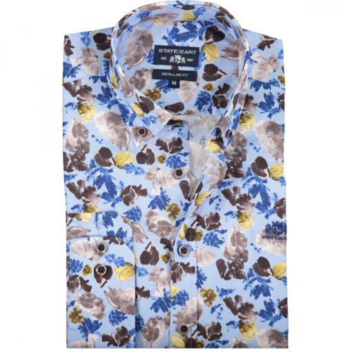 State of Art Poplin overhemd met een all-over print donkerbruin/mint blauw