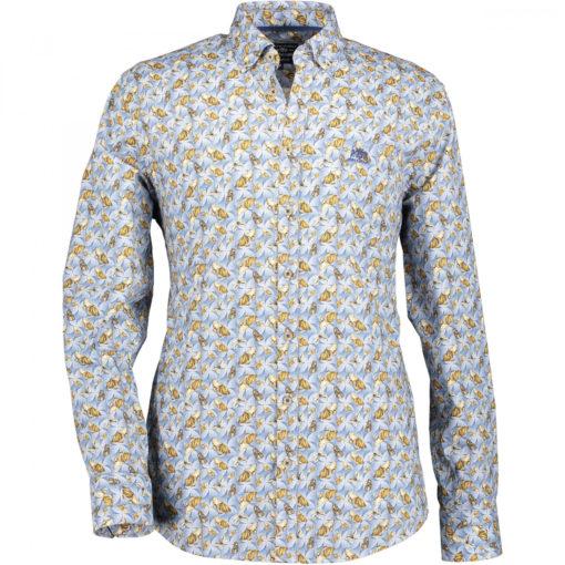 State of Art Overhemd met een vlinderprint zwavelgeel/kobalt