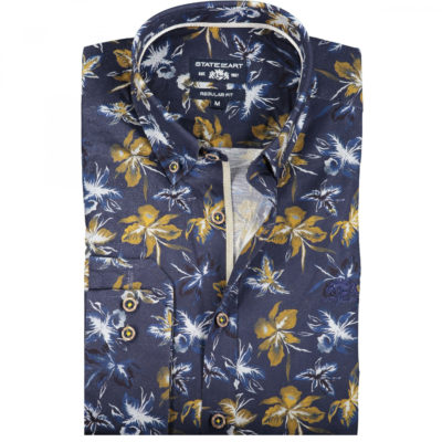 State of Art Button down overhemd met bloemenprint donkerbruin/kobalt