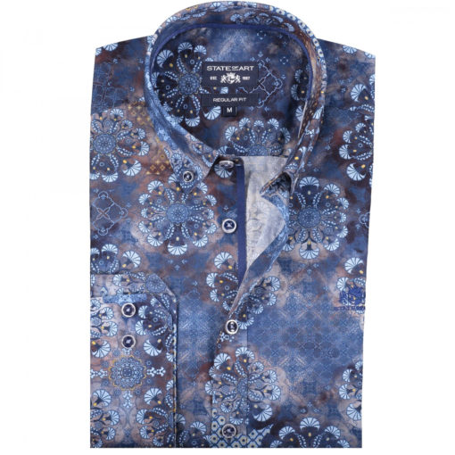 State of Art Poplin overhemd zonder borstzak donkerbruin/kobalt
