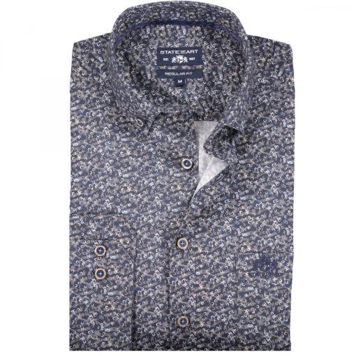 State of Art Overhemd van katoen met stretch grijsblauw/donkerblauw