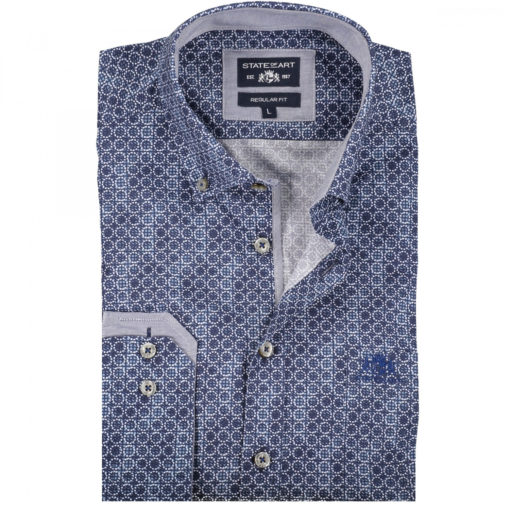 State of Art Overhemd met een geometrische print grijsblauw/donkerblauw