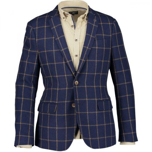State of Art Geruite blazer met slim fit donkerblauw/cognac