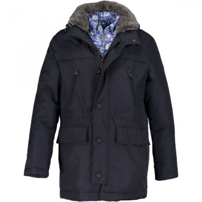 State of Art Halflange jas met afneembare capuchon donkerblauw uni