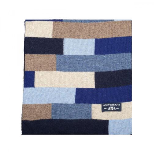 State of Art Sjaal met kleurblokken donkerblauw/kobalt