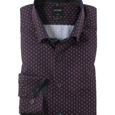 OLYMP Luxor, modern fit, Button-Under, Donkerrood