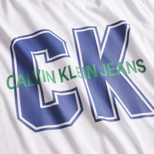 Calvin Klein Slim Varsity T-shirt bright white/mazarine/green