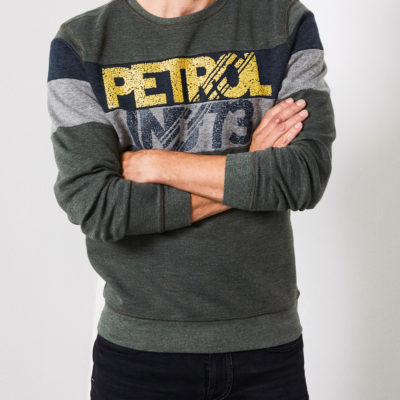 Petrol Industries Sweater Strepen Dark Army