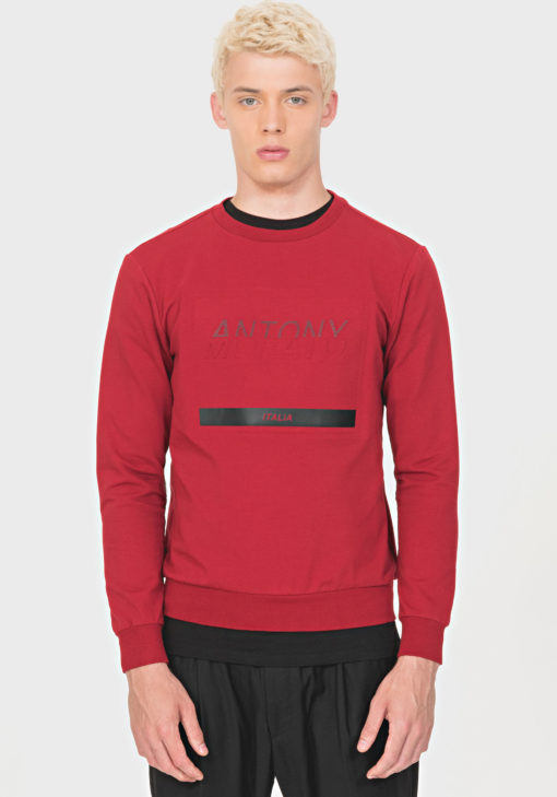 ANTONY MORATO REGULAR-FIT SWEATSHIRT IN STRETCH COTTON WITH LOGO PRINT DETAIL RED