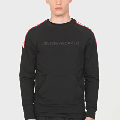ANTONY MORATO SWEATSHIRT IN STRETCH COTTON WITH FRONT POCKET AND PRINT DETAIL BLACK