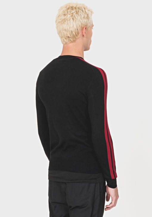 ANTONY MORATO RELAXED-FIT SWEATER IN A SOFT VISCOSE-BLEND YARN BLACK/RED