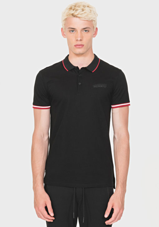 ANTONY MORATO REGULAR-FIT POLO SHIRT IN 100% COTTON WITH LOGO DETAIL BLACK/RED