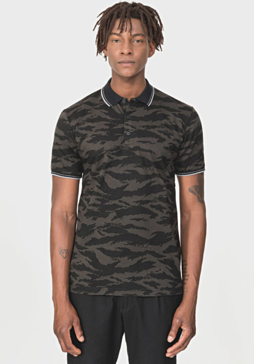 REGULAR-FIT POLO SHIRT IN 100% COTTON MET CAMOUFLAGE PRINT