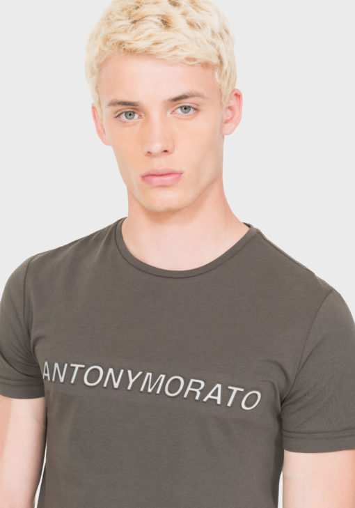 ANTONY MORATO REGULAR-FIT T-SHIRT IN 100% COTTON WITH EMBOSSED PRINT ON FRONT GREEN