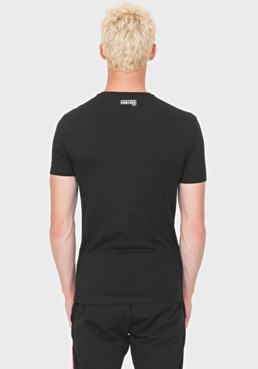 ANTONY MORATO SLIM-FIT STRETCH-COTTON T-SHIRT WITH RAISED PRINT DETAIL BLACK