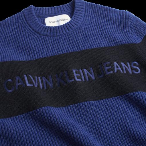 Calvin Klein Colourblock wollen trui met logo MEDIEVAL BLUE