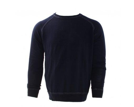 Tresanti Merino wol pullover, navy, ronde hals