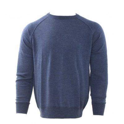 Tresanti Merino wol pullover, indigo, ronde hals