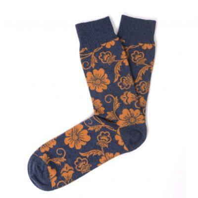 Tresanti Katoenen sokken oranje bloem