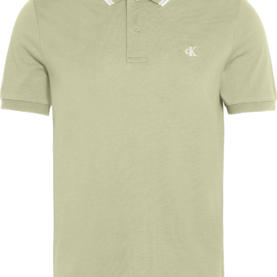 Calvin Klein Slim stretch piqué polo EARTH SAGE/WHITE