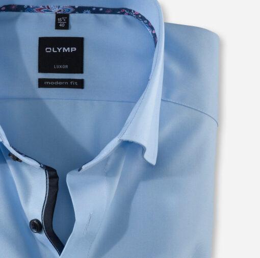 OLYMP Luxor, modern fit, Button-Under, Azuurblauw