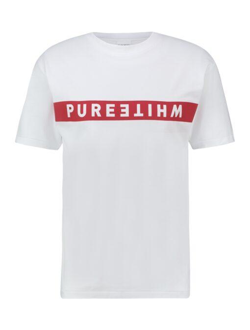 Purewhite Reversed Logo Stripe T-shirt White